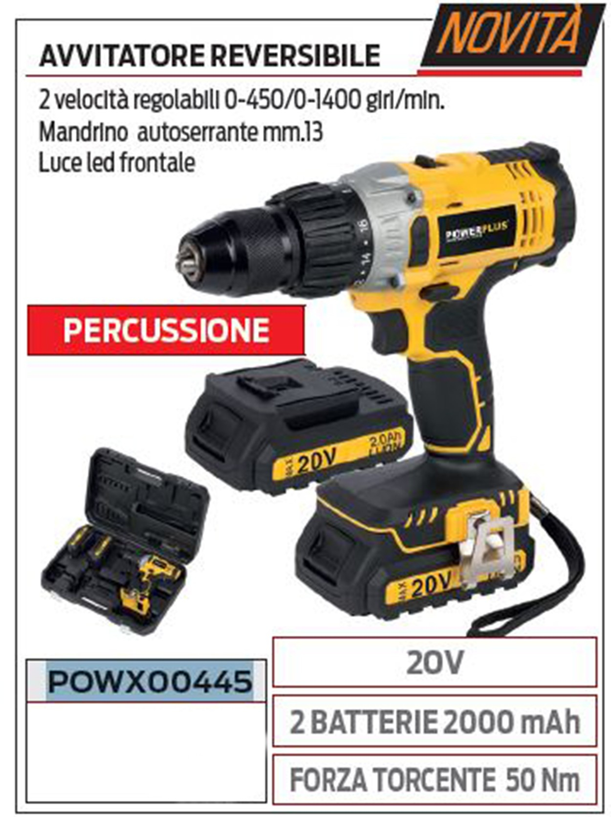 Powerplus POW00445 avvitatore reversibile a percussione 20V incluse 2 batterie 2000 mAh