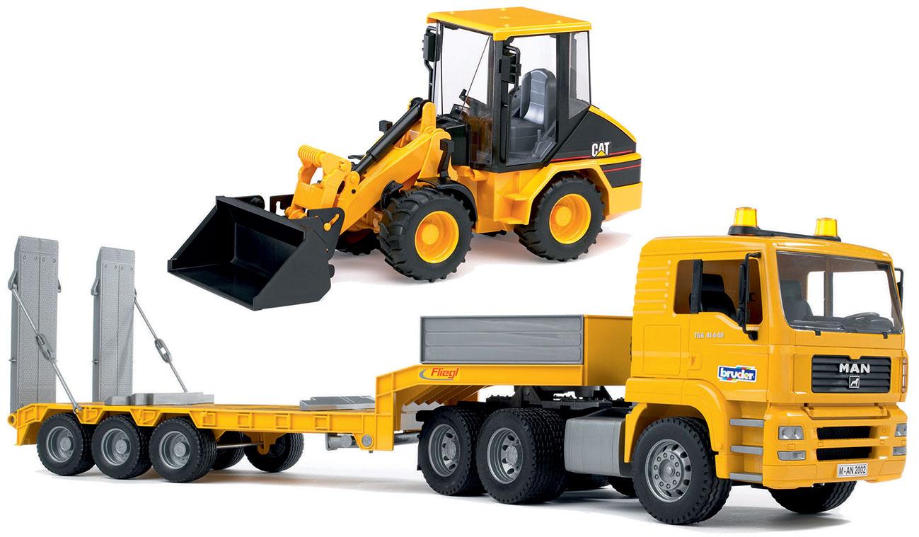 BRUDER 01629 - Camion Man bilico con escavatore CAT