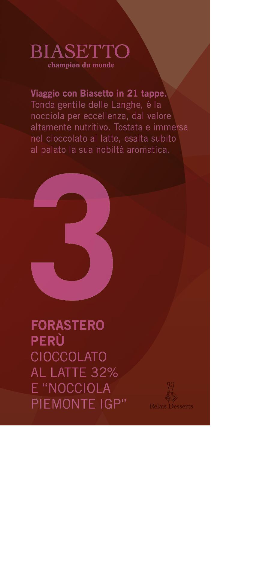 Tavoletta 3: Forastero Perù al latte 32%, con