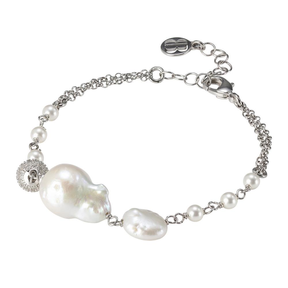 Bracciale rodiato doppio filo con perle naturali