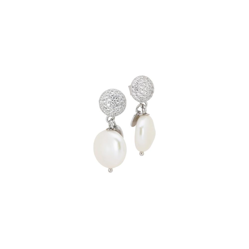 Orecchini con perno in pavè di zirconi e perla naturale pendente