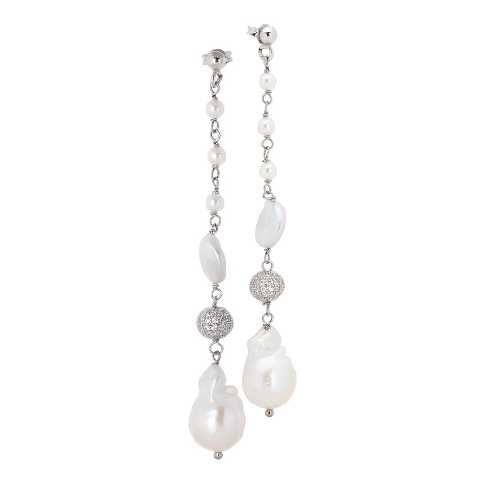 Orecchini con pendente di perle naturali e zirconi