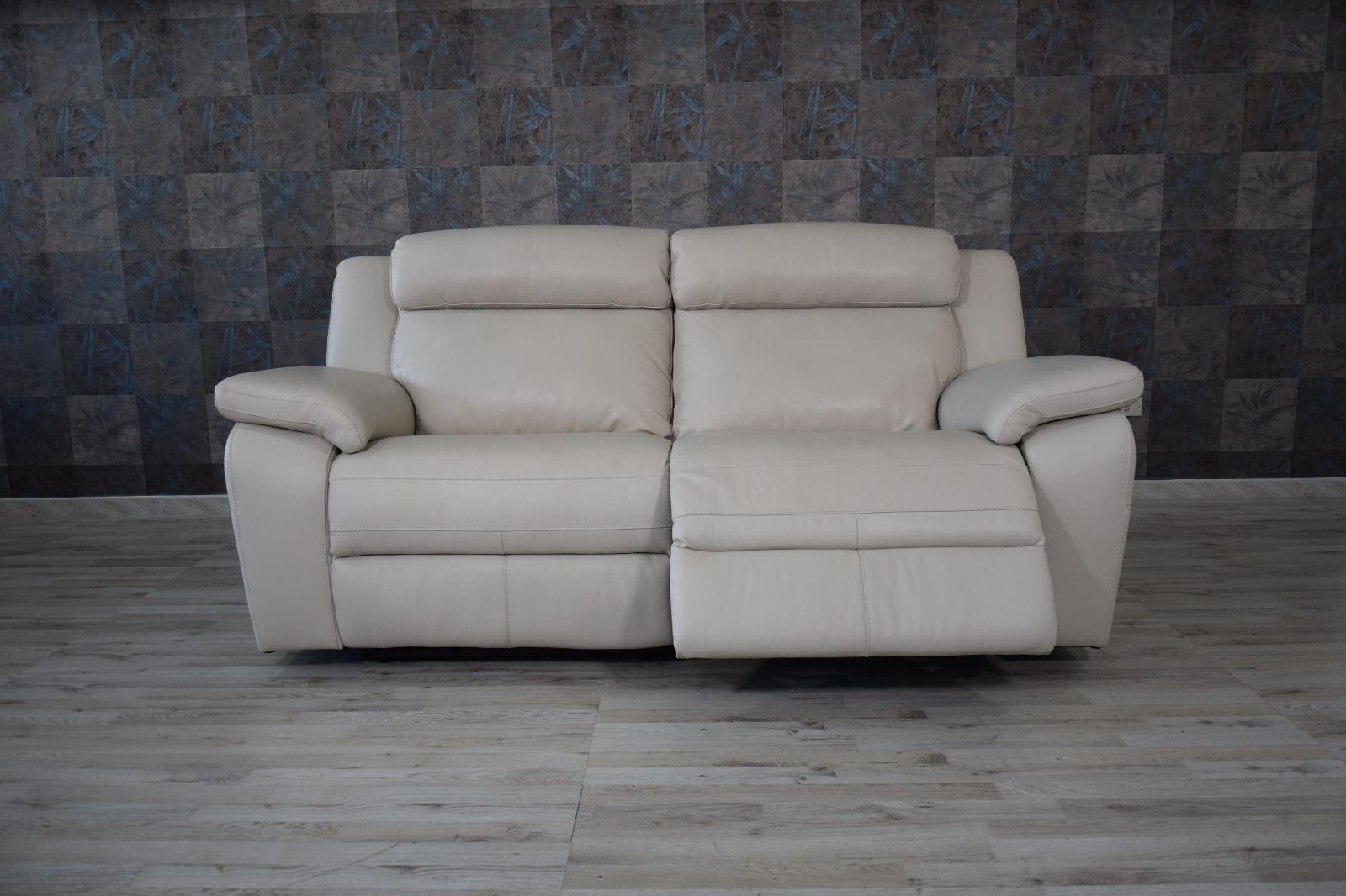Divani Con Meccanismo Relax divano relax in pelle grigio perla a 3 posti con meccanismi recliner  elettrici - schienale alto