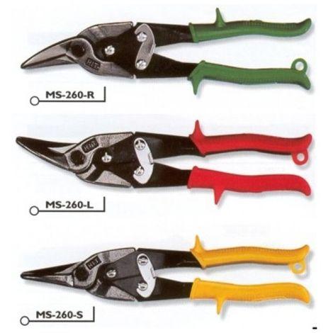 Hit MS260S cesoia forbice doppia leva per lamiera punta dritta 250mm gialla