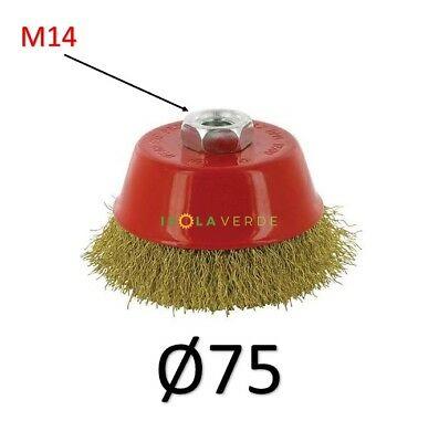 Hit 112250 spazzola a tazza in acciaio ottonato 75mm attacco M14