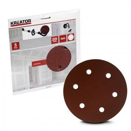 Kreator 5pz disco carta abrasiva circolare forata  225mm grana 60 art.KRT232004