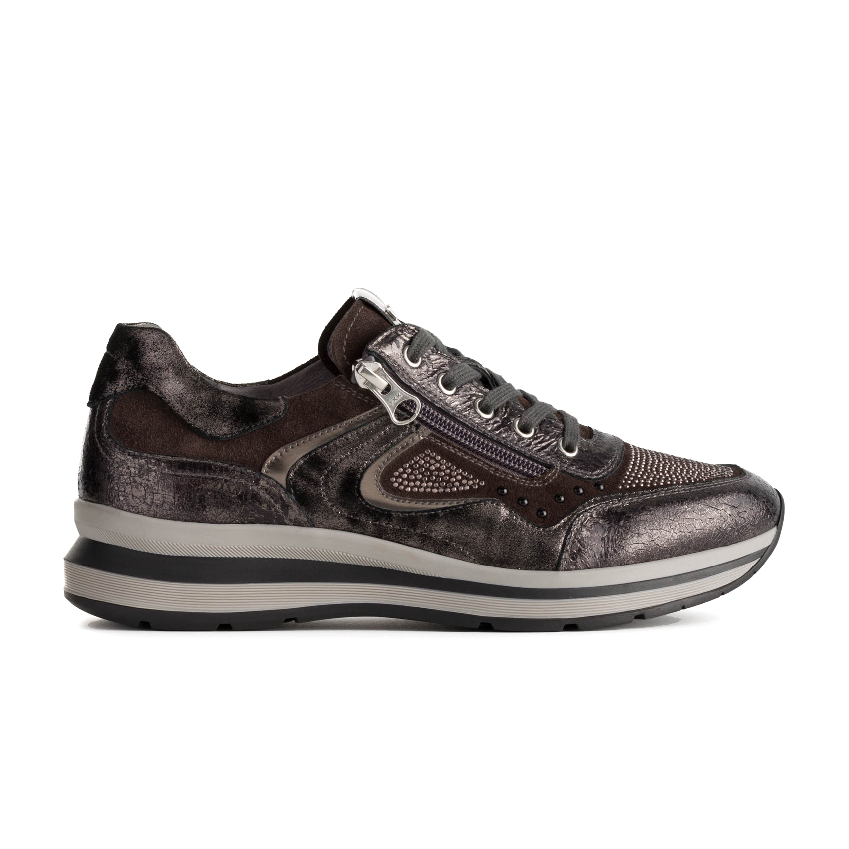 Sneaker grigia con fondo bicolore Nero Giardini