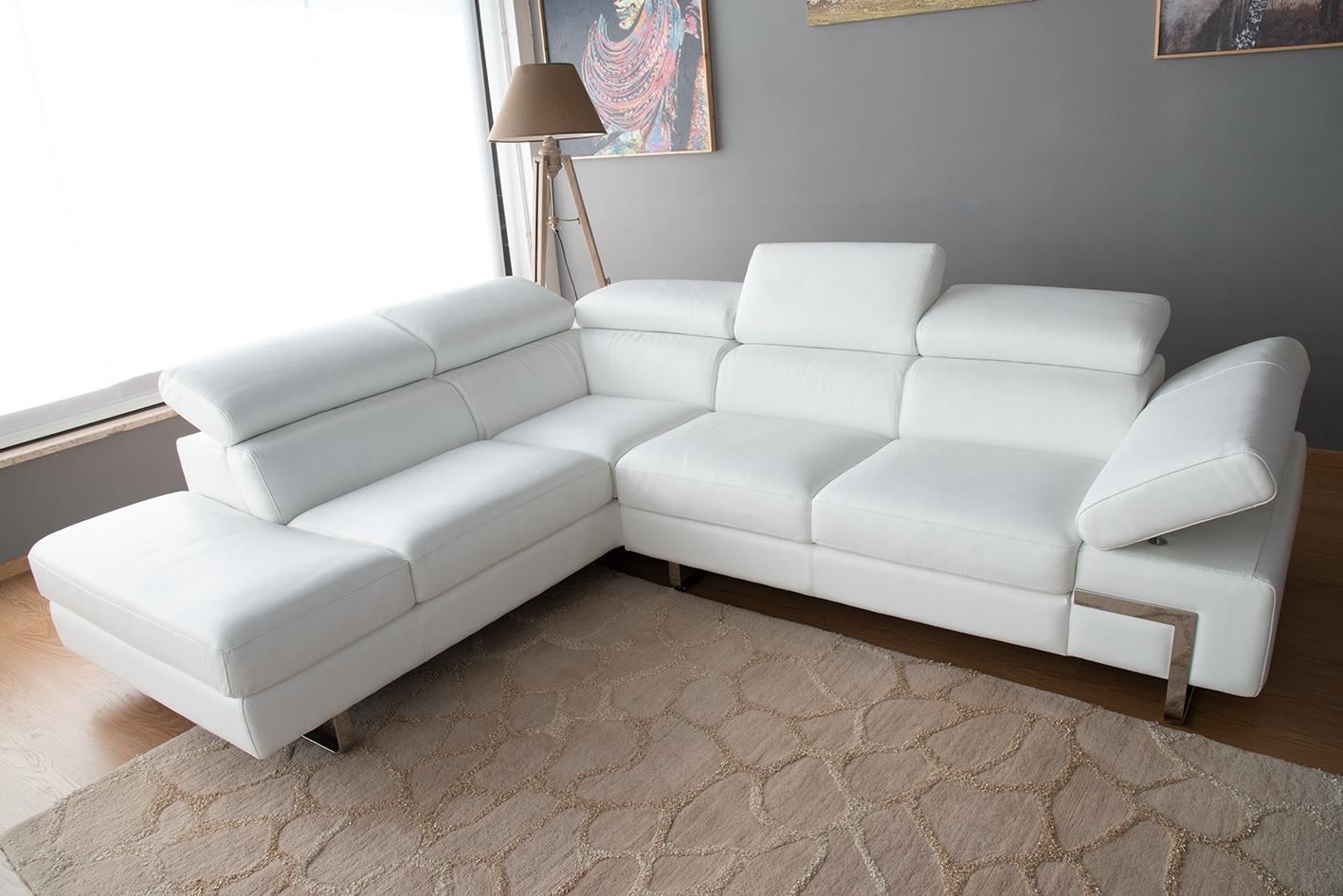 Divano In Pelle Design.Offerta Divano Angolare In Pelle Bianco Con Poggiatesta Regolabili