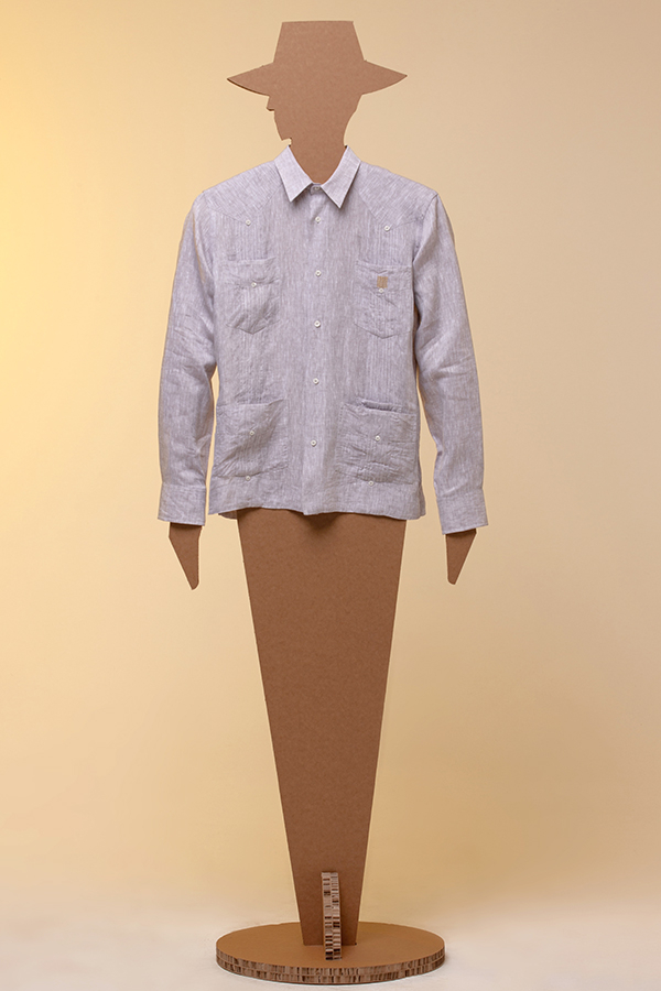 Guayabera Tropical 100% linen grey mélange