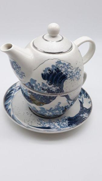 Teiera monoporzione con tazza e piattino in ceramica, vendita online   GIOIELLERIA BRUNI Imperia