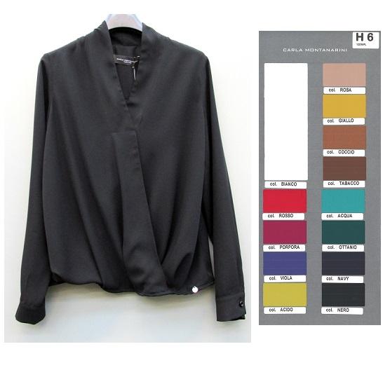 Camicia con collo sciallato e drappeggio