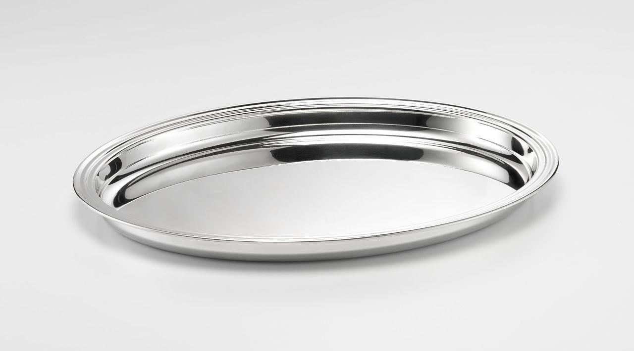 Vassoio ovale placcato argento stile Inglese cm.46x37x3,5h
