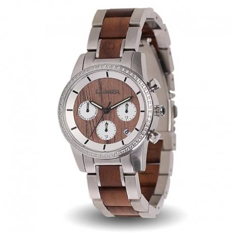 LAiMER Orologio da polso per donna KIM - Cronografo al quarzo in legno noce con cristalli Swarovski, 36mm