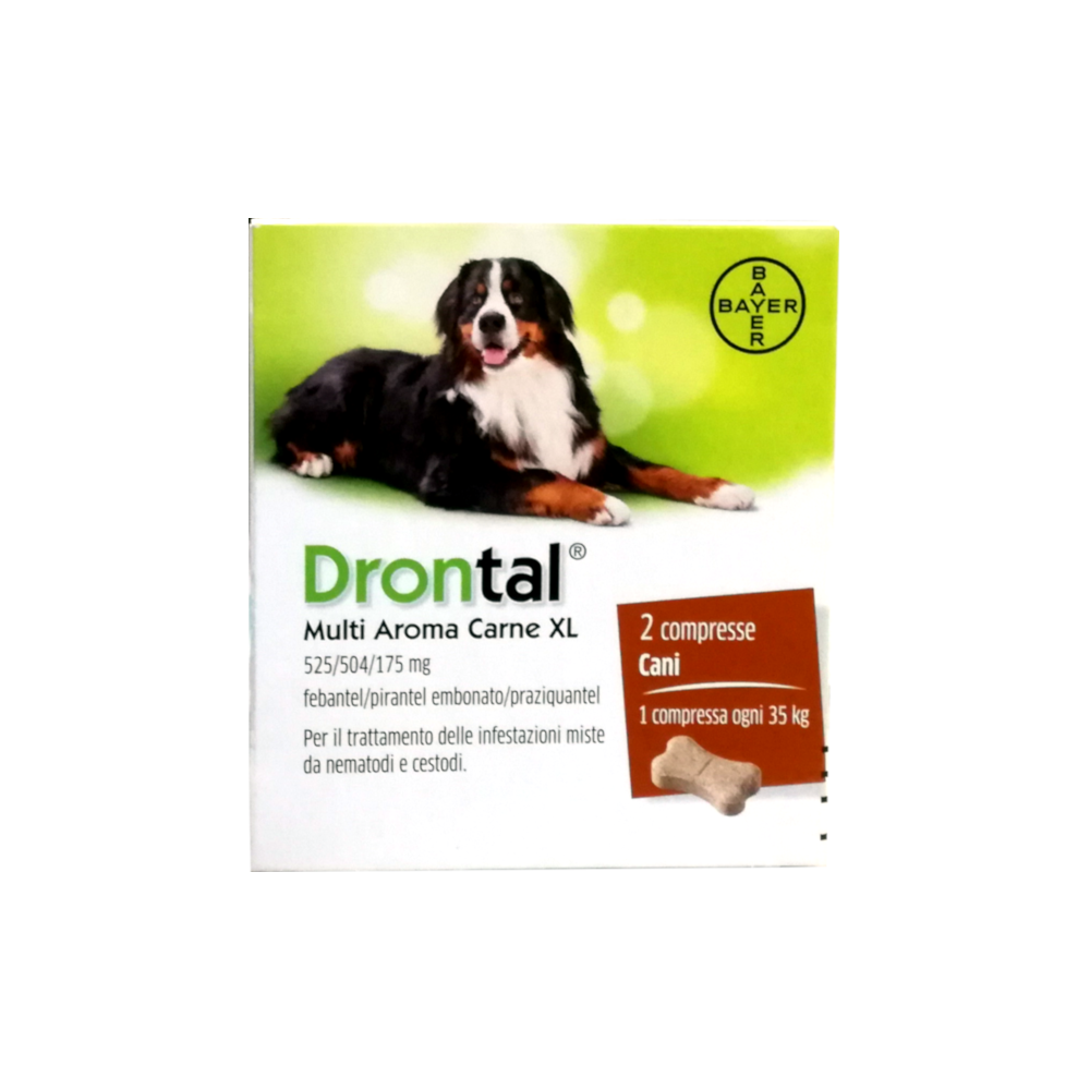 DRONTAL CANE MULTI AROMA XL (2 cpr) – Combatte i parassiti intestinali