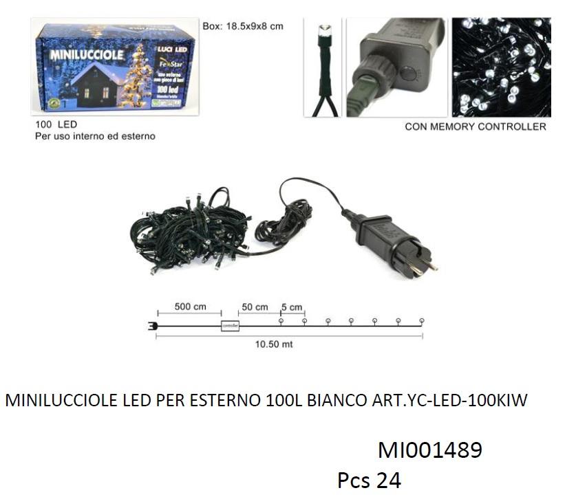 MINILUCCIOLE 100 LED PER ESTERNO BIANCHE MI001489