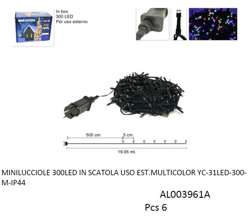 MINILUCCIOLE 300 LED PER ESTERNO MULTICOLOR AL003961A