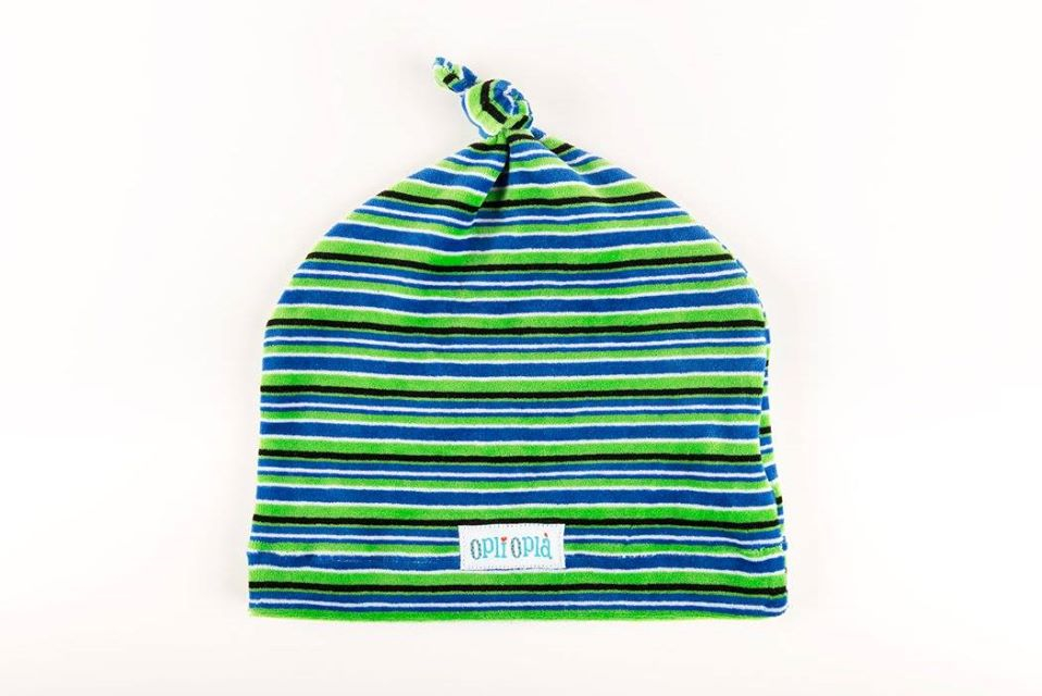 Verde/Blu cappello in ciniglia