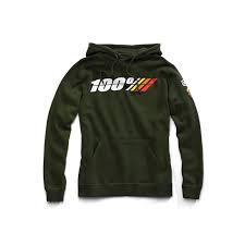 100% Felpa Con Cappuccio Motorrad Green