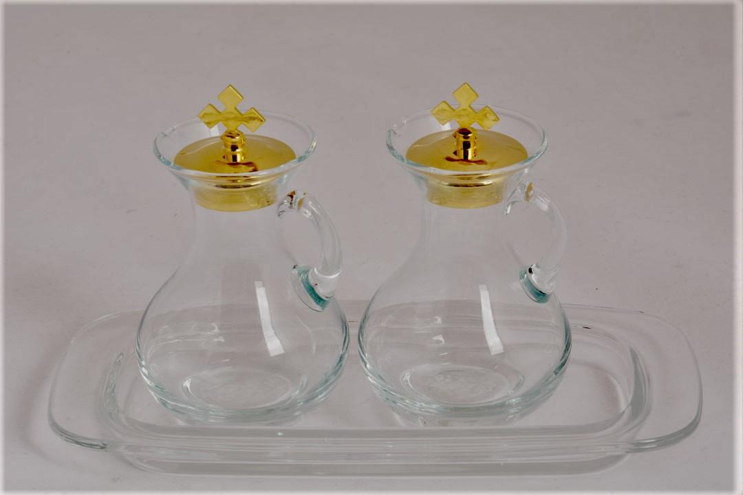 Servizio ampolle in vetro con piattino h 10 cm CAL1500