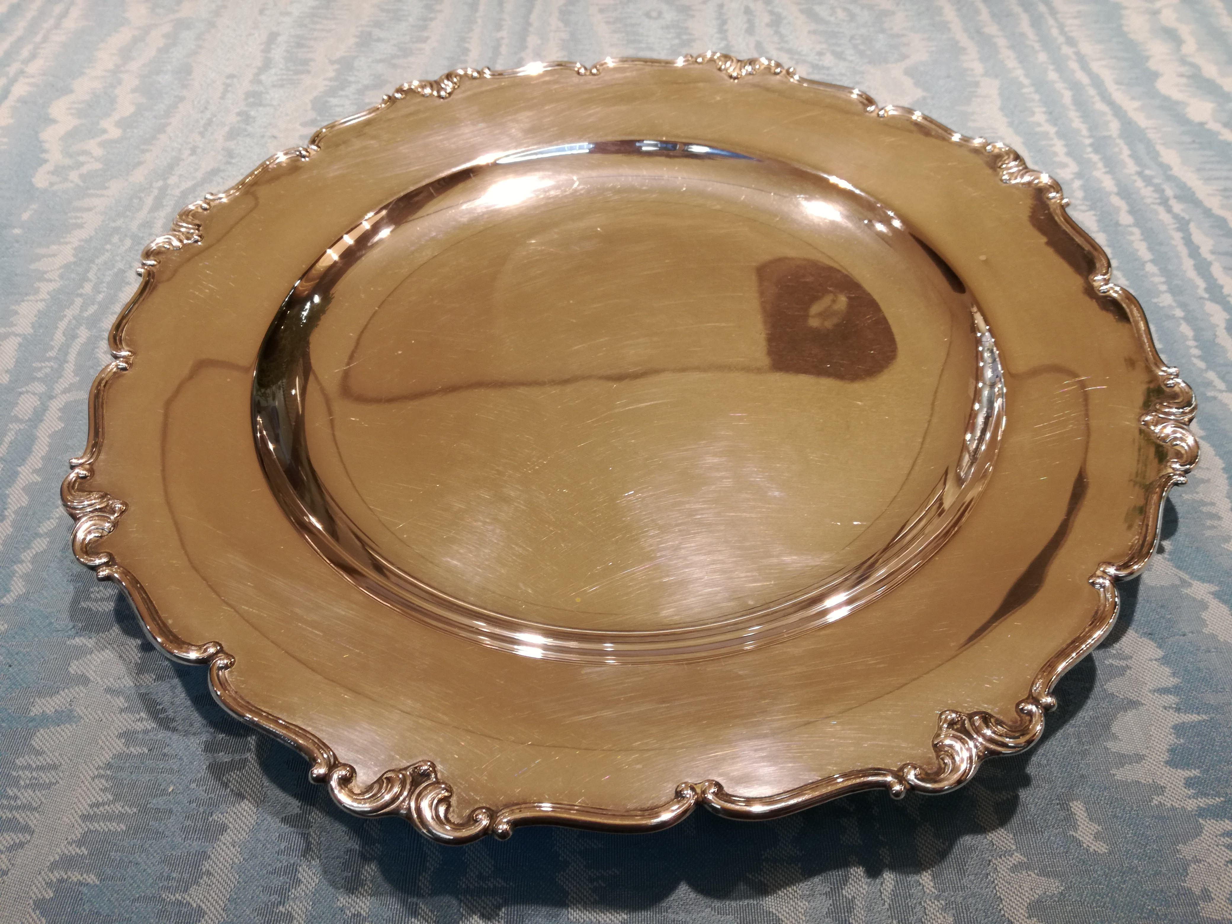 Piatto, centrotavola in Argento 800/1000 stile Barocco