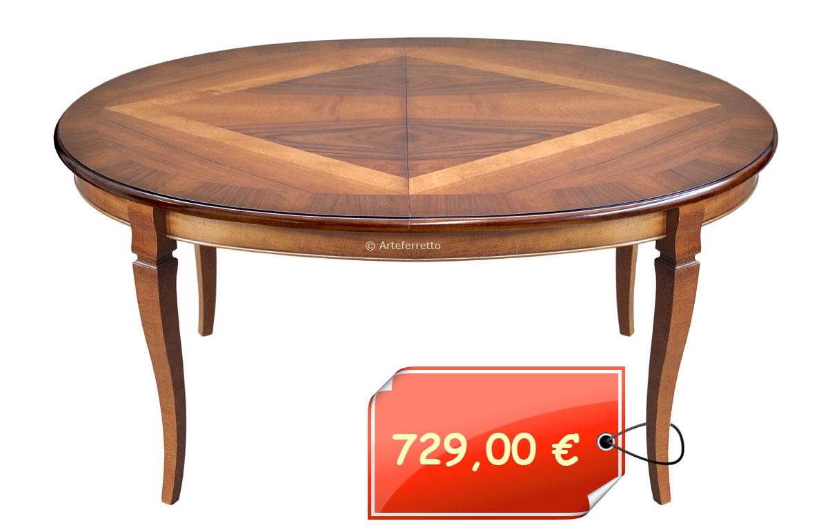 Tavolo ovale con piano intarsiato cm 160 – 210