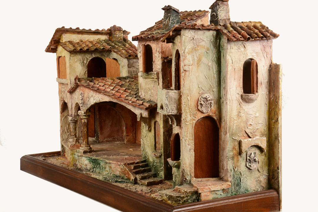 Borgo in legno e gesso dipinto a mano