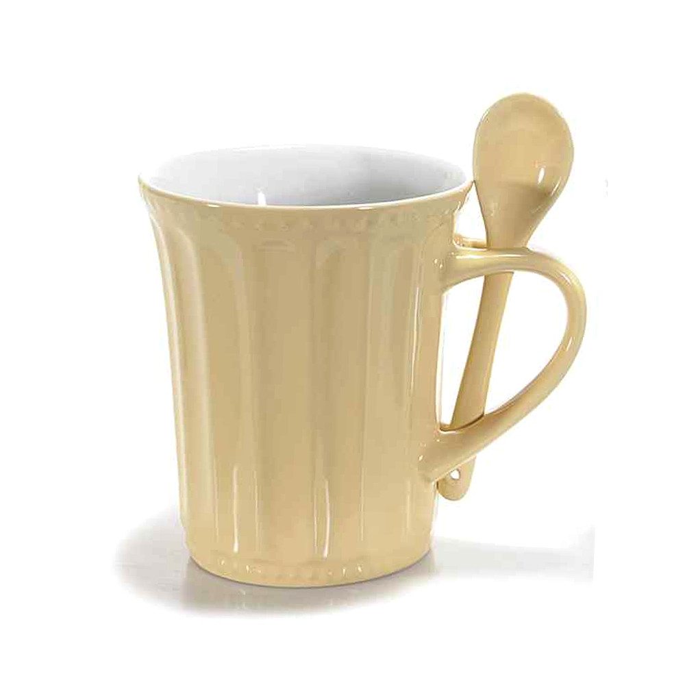 Tazza beige in ceramica con cucchiaino Integrato