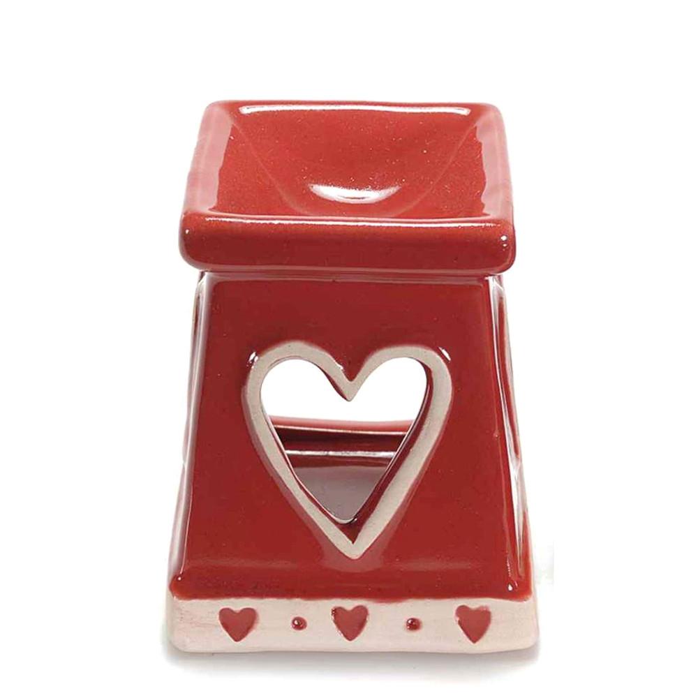 Brucia essenze con cuore in ceramica rossa