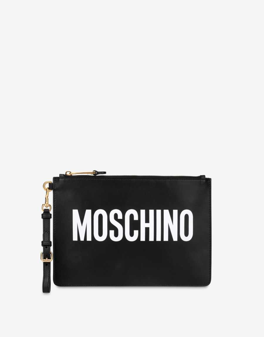 Clutch in pelle con logo MOSCHINO