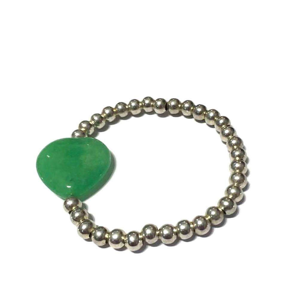 Bracciale Fantasy con agata verde cuore e palline in metallo