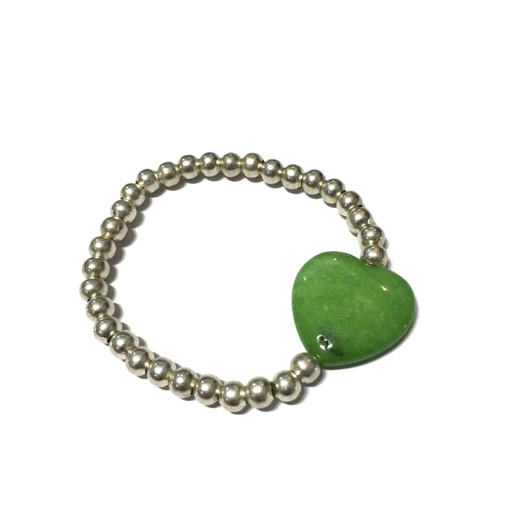 Bracciale Fantasy con agata verde e palline in metallo