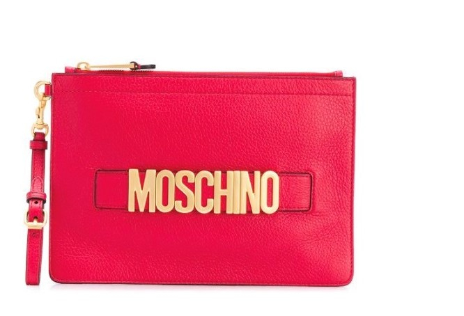 Clutch con placca logo MOSCHINO