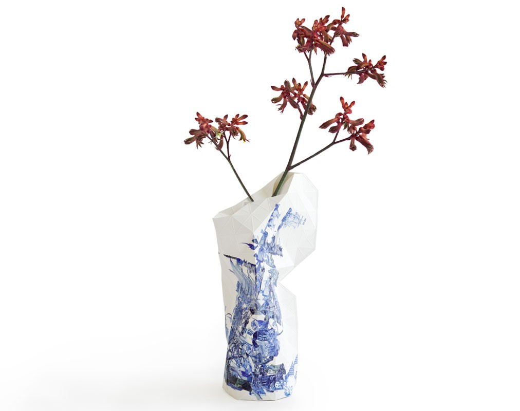 Paper Vase Cover Delft Blue