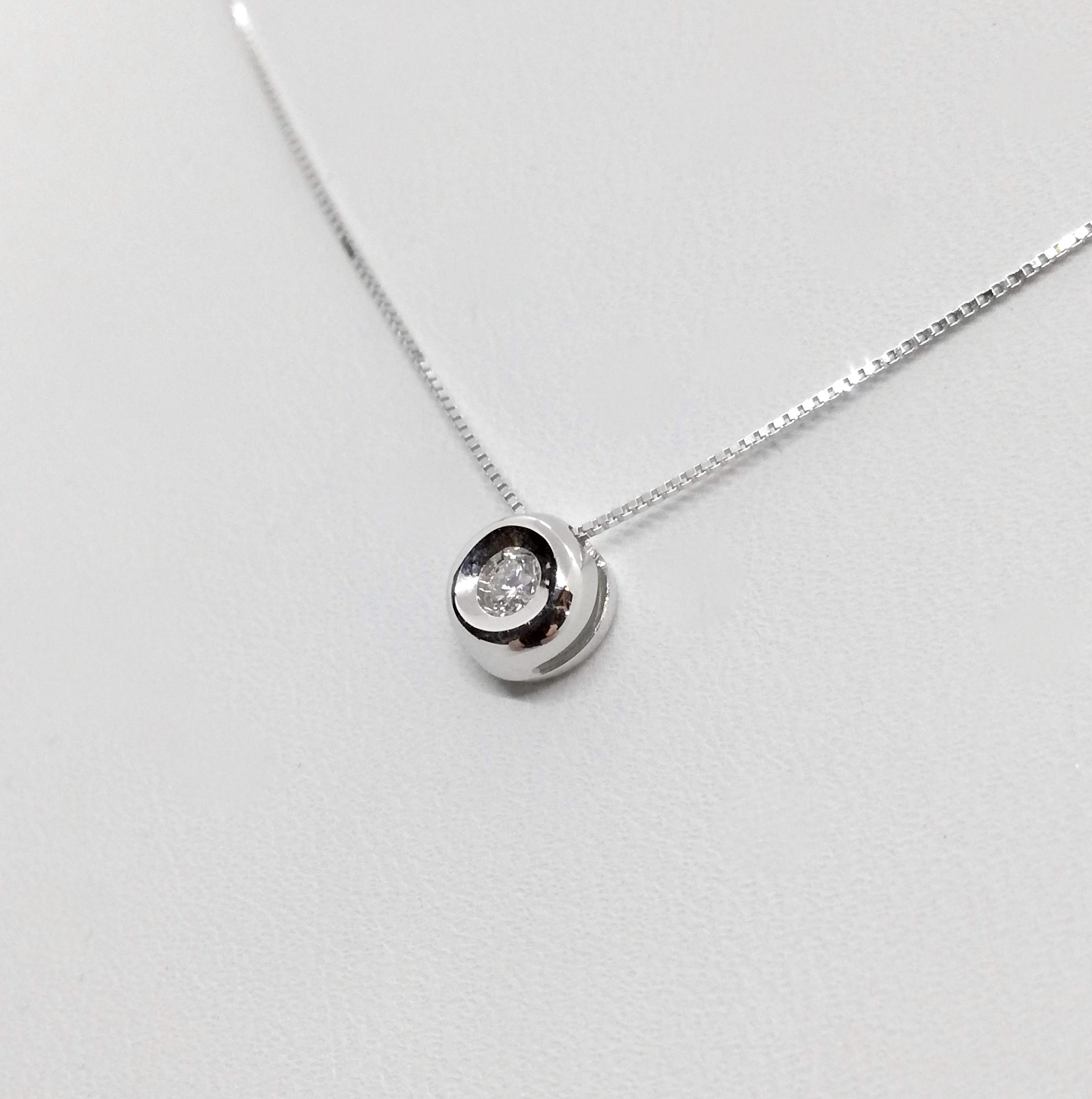 Puntoluce Collana Girocollo Oro bianco 18 kt con diamante taglio Brillante ct. 0,04