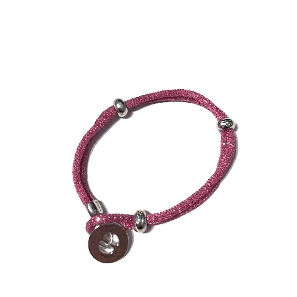 Bracciale rosa scuro Bottoni in tessuto brillantinato