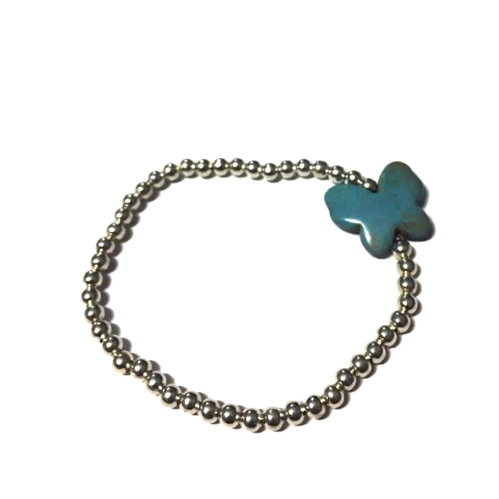 Bracciale Butterfly con charm azzurro e palline argentate