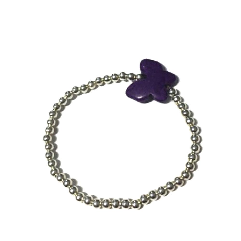 Bracciale Butterfly con charm viola e palline argentate