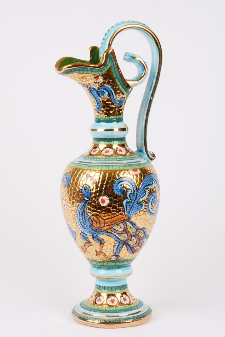 Brocca con piatto in terracotta decoro bizantino