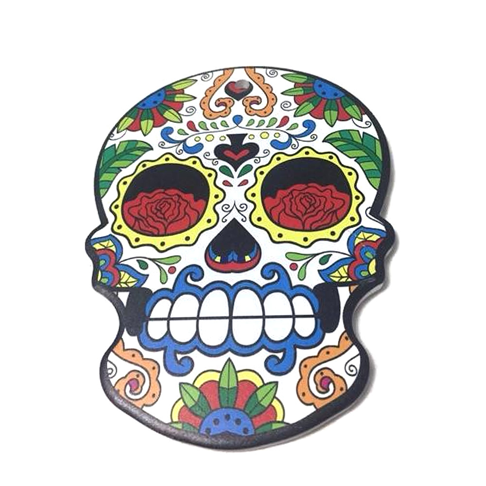 SOTTOPENTOLA teschio messicano in ceramica con base in sughero