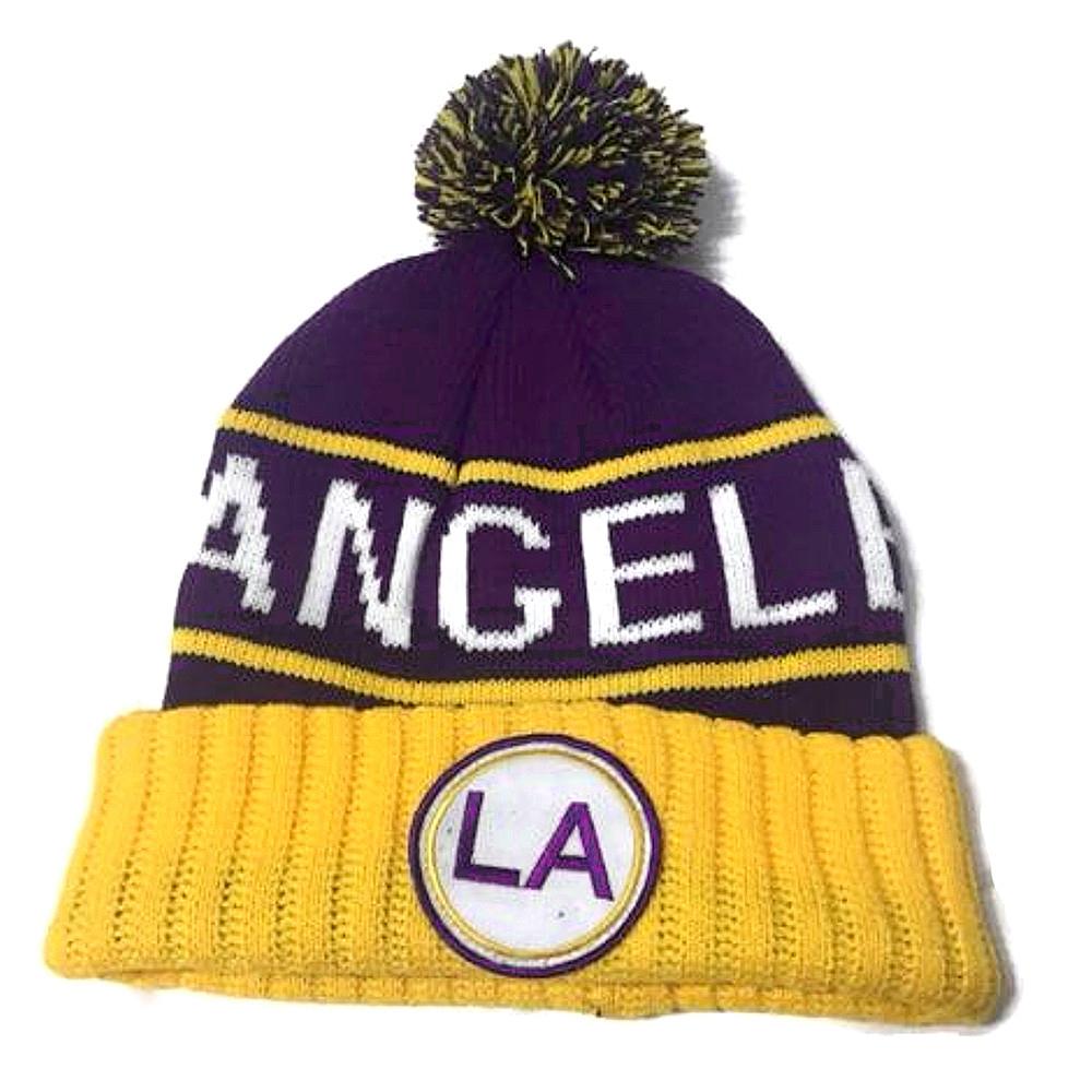 Cappello invernale Los Angeles giallo e viola adulto