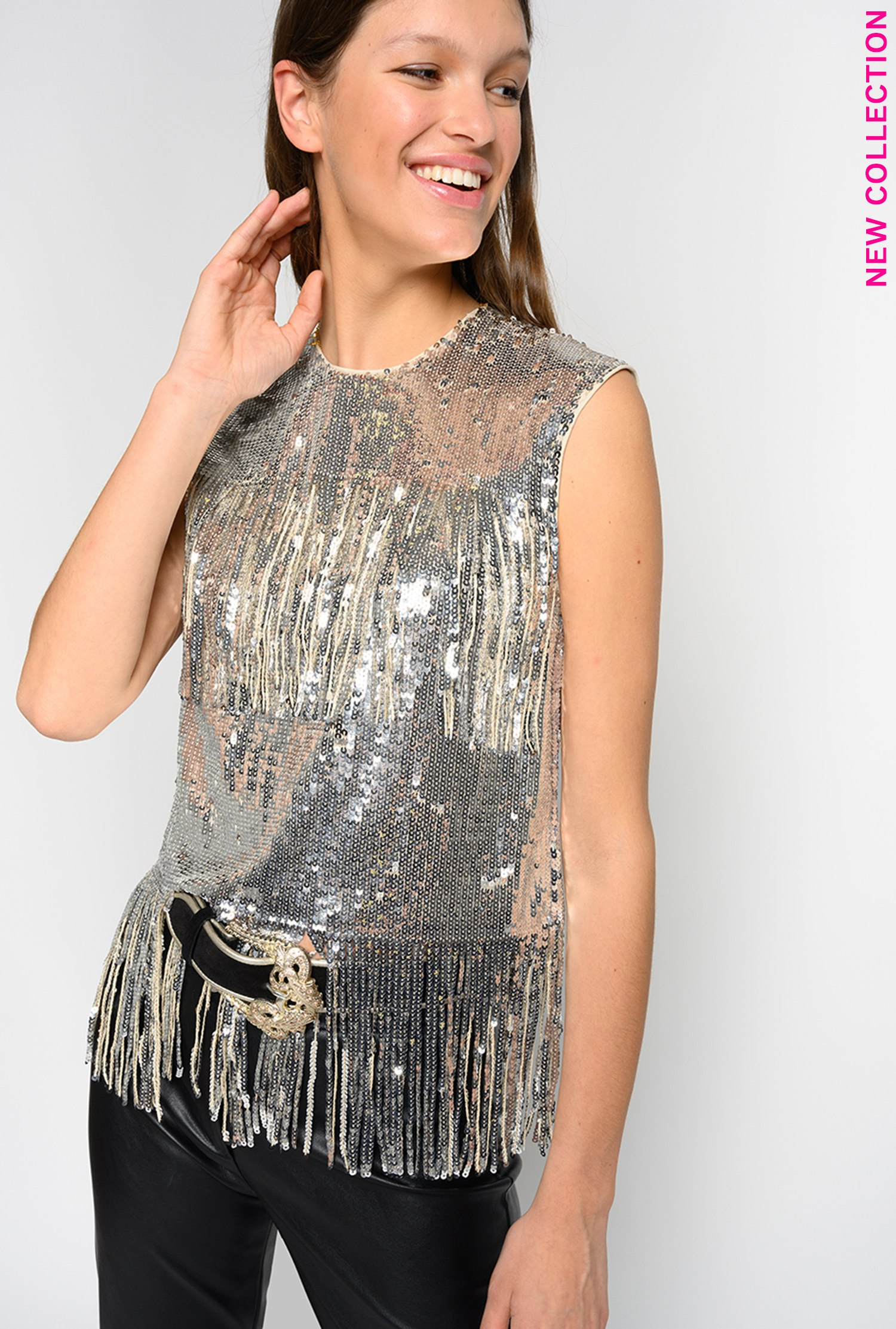 SHOPPING ON LINE PINKO TOP IN FULL PAILLETTES CON FRANGE CROSTATA NEW COLLECTION WOMEN'S SPRING SUMMER 2020
