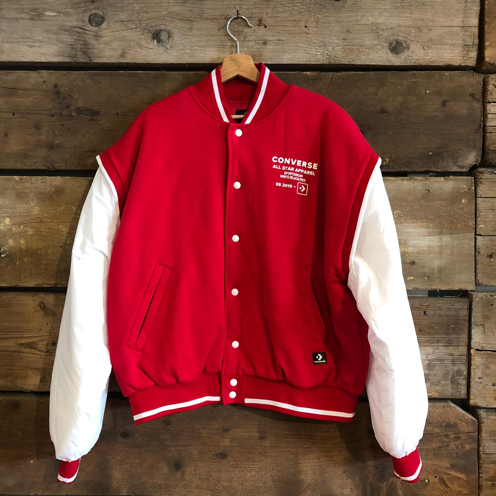 FLEECE BOMBER JACKET VARSITY FLAME SCARLETT/ WHITE