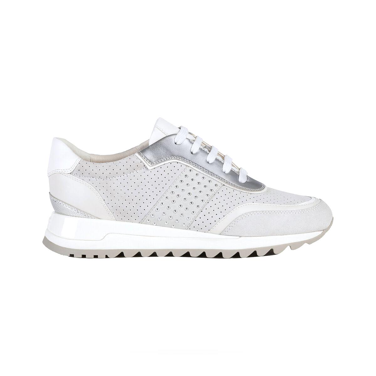 Zapatillas de piel de mujer TABELYA Geox de color crema con