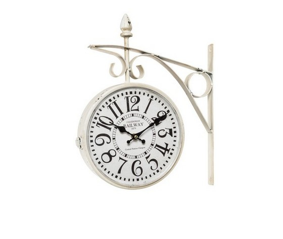 Orologio stazione bianco anticato in ferro