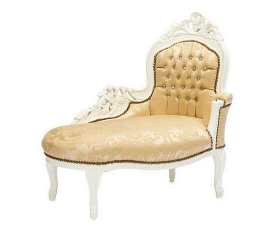 Dormeuse White Tessuto Damasco Oro con Gemme