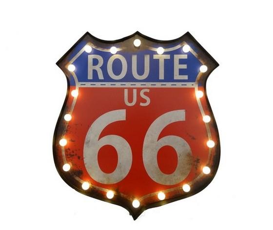 Insegna luminosa 'Route 66 US'