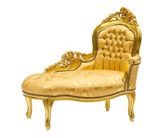 Dormeuse Oro Tessuto Damasco Oro con Gemme