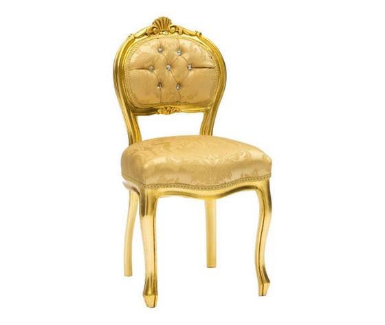 Sedia Musicista Oro Tessuto Damasco Oro con Gemme