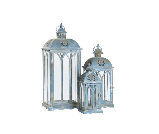 Tris di tre lanterne azzurre in ferro