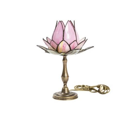 Lampada da tavolo Tiffany fior di loto rosa